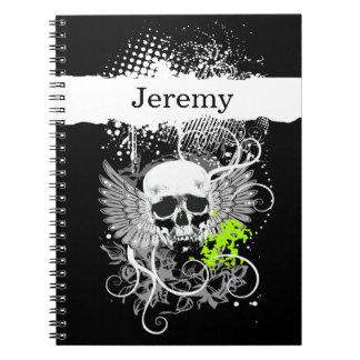 Goth Winged Grunge Skull Monogram black white acid Notebook