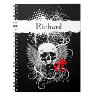 Goth Winged Grunge Skull Monogram black white red Notebook