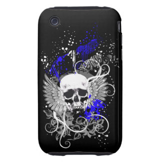 Goth Winged Grunge Skull Speck Case (indigo) iPhone 3 Tough Case