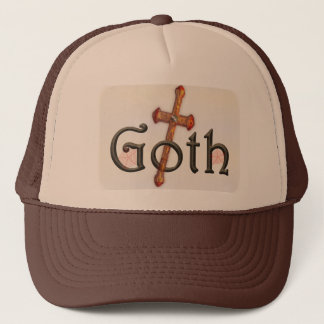 Goth with through cross trucker hat