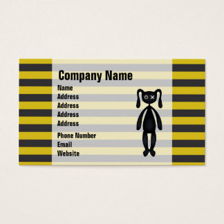 Goth Yellow and Black Bunny Business Card