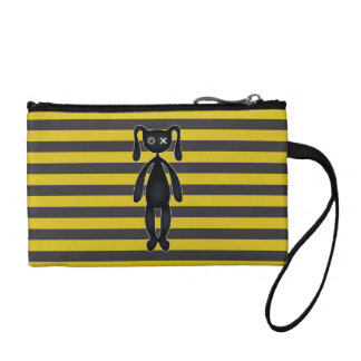 Goth Yellow and Black Bunny Change Purse