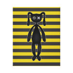 Goth Yellow and Black Bunny Gallery Wrapped Canvas