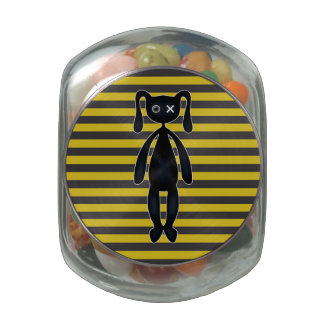 Goth Yellow and Black Bunny Jelly Belly Candy Jars