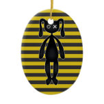 Goth Yellow and Black Bunny Ornaments