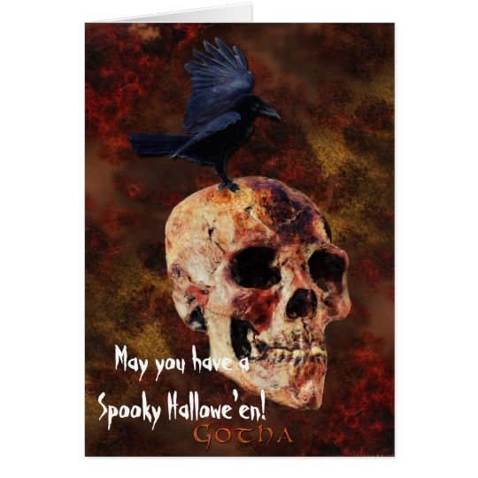 Gotha Crow & Skull Dark Art Halloween Card