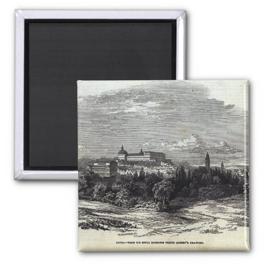 Gotha, engraved by W.J. Linton 2 Inch Square Magnet