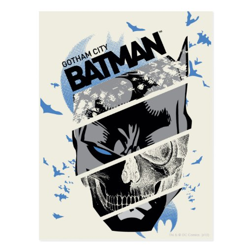 Gotham City Batman Skull Collage Postcard