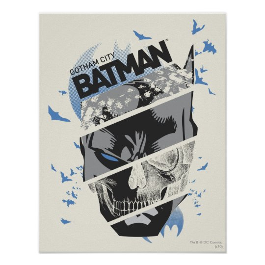 Gotham City Batman Skull Collage Poster Zazzle Com