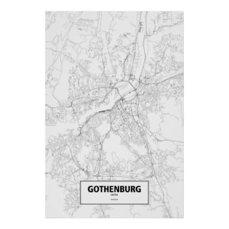 Gothenburg, Sweden (black on white) Poster