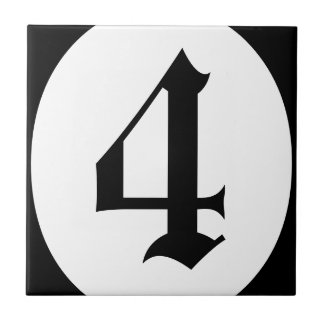 Gothic address number circle tile