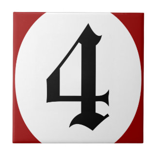 Gothic address number red circle tile
