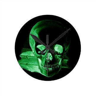 Gothic altered Light Green vintage Skull Round Clock