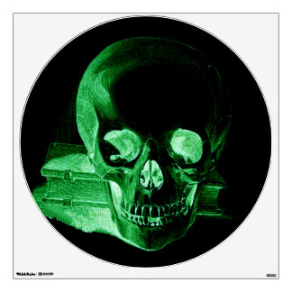 Gothic altered Light Green vintage Skull Wall Decal