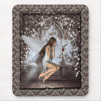 Gothic Angel and Her Dove Mouse Pad