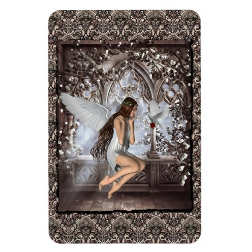 Gothic Angel and Her Dove Flexible Magnets