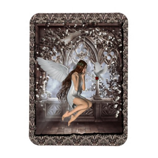 Gothic Angel and Her Dove Rectangular Photo Magnet
