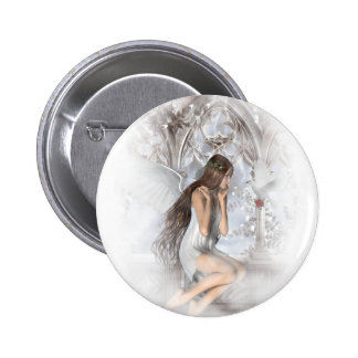 Gothic Angel and Her Dove Vignette 2 Inch Round Button