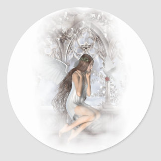 Gothic Angel and Her Dove Vignette Classic Round Sticker
