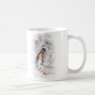 Gothic Angel and Her Dove Vignette Coffee Mugs