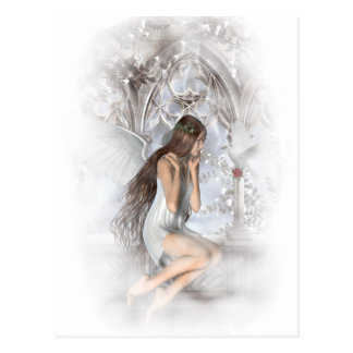 Gothic Angel and Her Dove Vignette Postcard