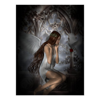 Gothic Angel and Her Dove Vignette Poster
