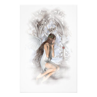 Gothic Angel and Her Dove Vignette Stationery