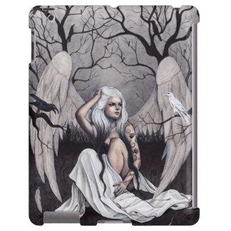 Gothic Angel Black White Crows iPad Case