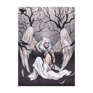 Gothic Angel Black White Hope Despair Canvas Print