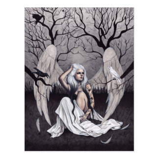 Gothic Angel Black White Hope Despair Postcard