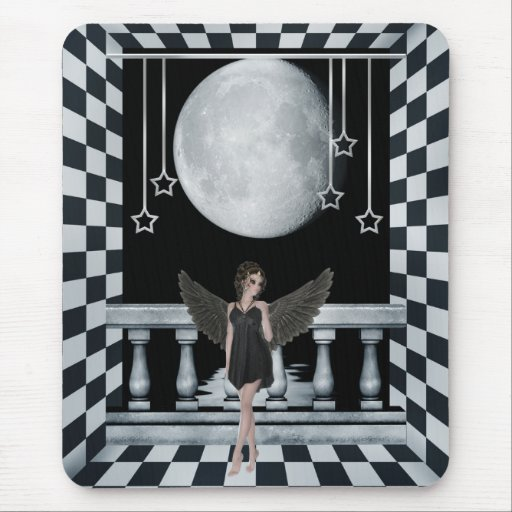 Gothic Angel Checkered Room & Moon Mousepad