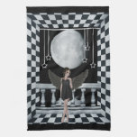 Gothic angel checkered room & moon Towel