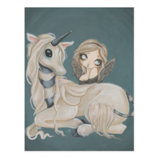Gothic angel fairy with unicorn postcard