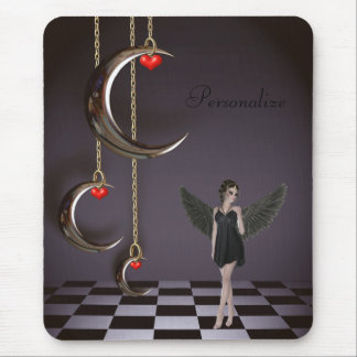 Gothic Angel & Hanging Moons Personalized Mousepad