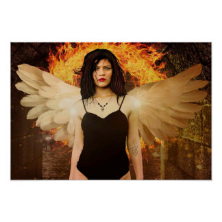 Gothic Angel Lady with Fire and Wings Poster