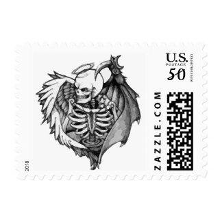 Gothic Angel of Death Skeleton Wings Skull Stamp