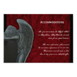 Gothic Angel on Red Velvet Wedding Accomodations 3.5x5 Paper Invitation Card
