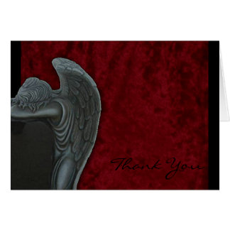 Gothic Angel on Red Velvet Wedding Thank You Card