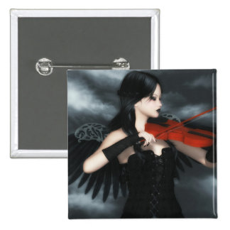 Gothic Angel Playing The Violin 2 Inch Square Button