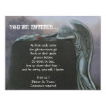 Gothic Angel Tombstone in Cemetery Halloween Party 4.25x5.5 Paper Invitation Card