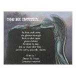 Gothic Angel Tombstone in Cemetery Halloween Party Custom Invite