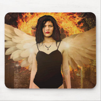 Gothic Angel Woman with Angel Wings and Fire Mouse Pad