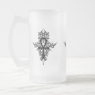 Gothic Ankh Frosted Glass Beer Mug