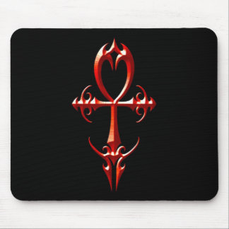 Gothic Ankh, red and black Mouse Pad