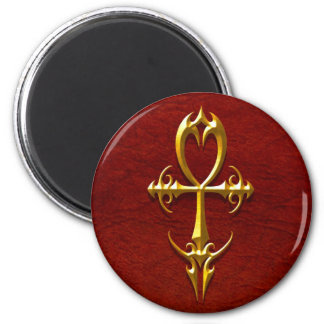 Gothic Ankh, yellow and red 2 Inch Round Magnet