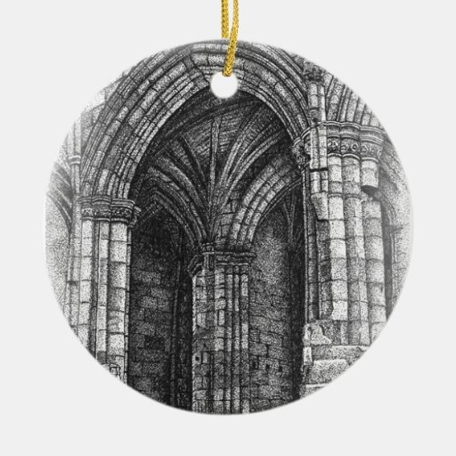 Gothic Arch Double-Sided Ceramic Round Christmas Ornament