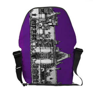Gothic architecture in purple messenger bags