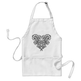 Gothic Art Nouveau Flower Heart Adult Apron
