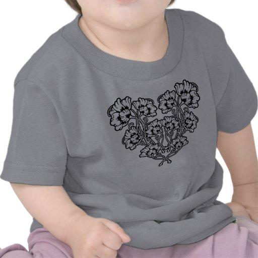 Gothic Art Nouveau Flower Heart T-shirt