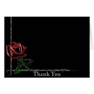 Gothic Barbed Wire and Rose Anniversary Thank You Card